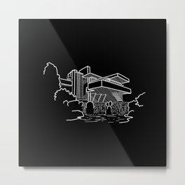 FLW - Falling water Sketch (W) Metal Print