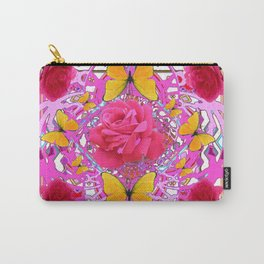 PINK ROSE FLOWERS  &  GOLDEN BUTTERFLIES GARDEN ART Carry-All Pouch