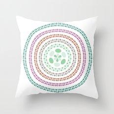 Retro floral circle 3 Throw Pillow