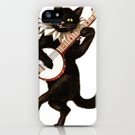 Cat playing a banjo iPhone Case