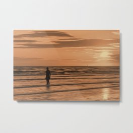 A Gormley Iron man at sunset (Digital Art) Metal Print