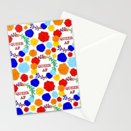 QUEER AF - A Rainbow Floral Pattern Stationery Cards