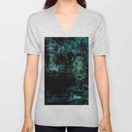 Deep Blue Soul - Black and blue textured abstract Unisex V-Neck