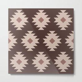 Southwestern Pattern 526 Beige Brown and Dusty Rose Metal Print