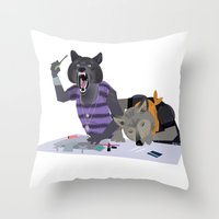 cocaine Throw Pillows featuring cocaine wolves by Dyna Moe