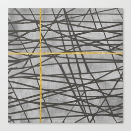 Black abstract black and gold lines on concrete - Mix & Match with Simplicty of life Canvas Print
