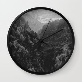 Between The Mountains (Black and White) Wall Clock