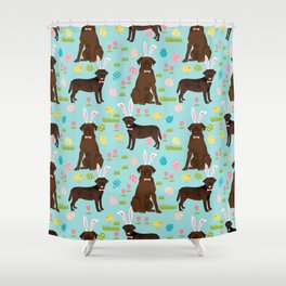 Chocolate Lab labrador retriever dog breed pet art easter pattern costume spring Shower Curtain