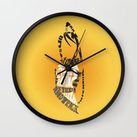 soul eater Wall Clocks featuring Tsubaki Nakatsukasa soul eater by Rebecca McGoran