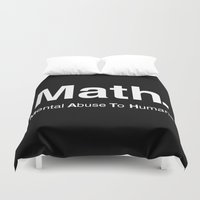 math Duvet Covers featuring Math Acronym by Pete