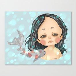 Ethereal - Sad Little Girl with Koi Canvas Print