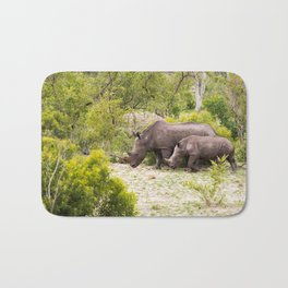 Family of African rhinos Bath Mat