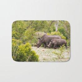 Family of African rhinos Bath Mat