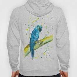 Parrot (Hyacinth Macaw) - Watercolor Painting Hoody