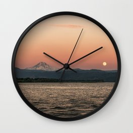 Mt. Hood Moonrise at Sunset Wall Clock