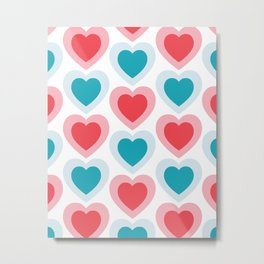 Mid-century Modern Hearts, Abstract Vintage Heart Pattern in Cherry Pink and Mint Teal Color Metal Print