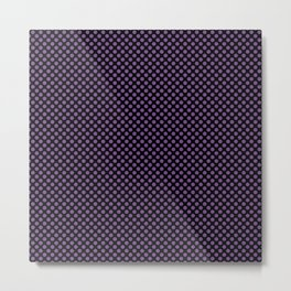 Black and Royal Lilac Polka Dots Metal Print