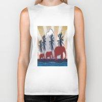 elephants Biker Tanks featuring Elephants by LoRo  Art & Pictures