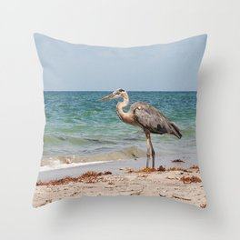 Heron Sand and Surf Throw Pillow