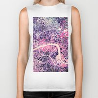 london map Biker Tanks featuring London Mosaic Map #2 by Map Map Maps