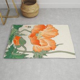 Blossoming Flower - Vintage Japanese Woodblock Print Art Rug