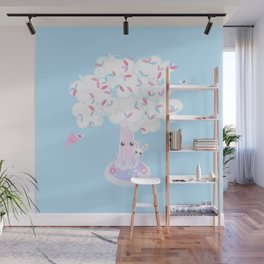 Kawaii Tree Clouds Wall Mural