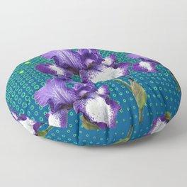 PURPLE IRIS TEAL OPTICAL ART PATTERNS Floor Pillow
