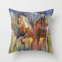 horses Throw Pillows featuring Horses by Michael Creese