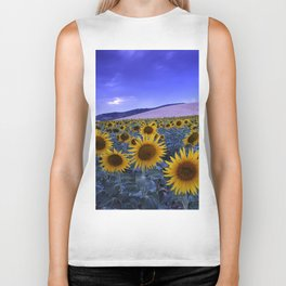 Sunflowers At Blue Hour . Square Biker Tank