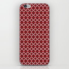 Seamless wire fence burgundy and white pattern iPhone Skin