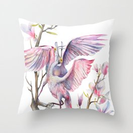 Two spoonbills on a Magnolia tree, Roseate Spoonbill, Magnolia Throw Pillow