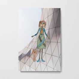 Girl with dog   Painting by Elisavet Metal Print