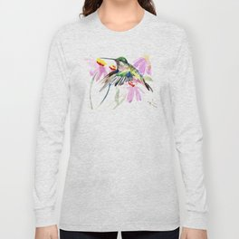 Hummingbird and Light Purple Flowers, birds and flowers Long Sleeve T-shirt