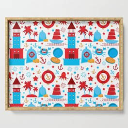 pattern with sea icons on white background. Seamless pattern. Red and blue Serving Tray