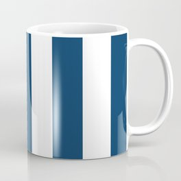 Stripes (Parallel Lines) - Navy Blue, White Coffee Mug