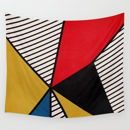 Primary Colors and Stripes Wall Tapestry