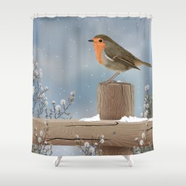 Robin on a Winter Day Shower Curtain