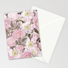 Floral Vintage painterly background in pink with Roses Flowers and insect Stationery Cards