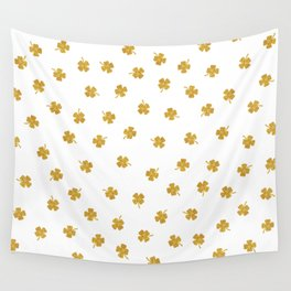 Golden Shamrocks White Background Wall Tapestry