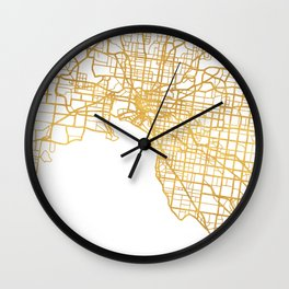 MELBOURNE AUSTRALIA CITY STREET MAP ART Wall Clock