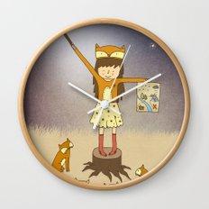 Little Fox Girl Wall Clock