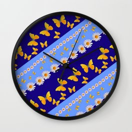BLUE ART YELLOW BUTTERFLIES & WHITE DAISIES  DIAGONAL STRIPES Wall Clock