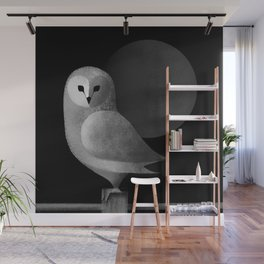 Barn Owl Full Moon Wall Mural