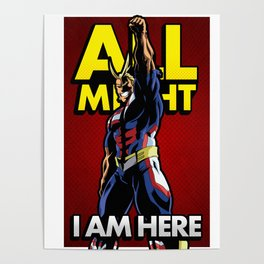 All Might Here Red Poster