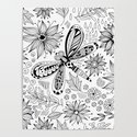 Dragonfly and flowers doodle by katerinamitkova