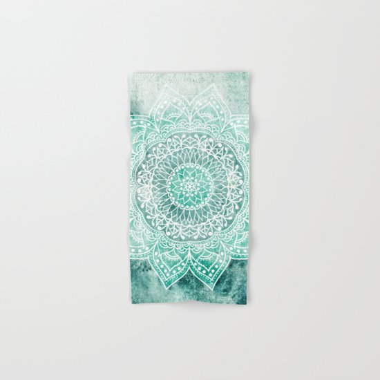 DEEP MINT MANDALA Hand & Bath Towel