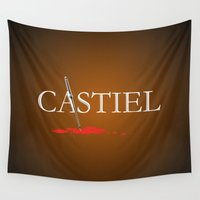 castiel Wall Tapestries featuring Castiel by Manny Peters Art & Design