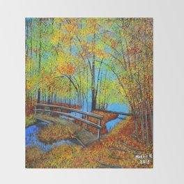 Autumn landscape 4 Throw Blanket