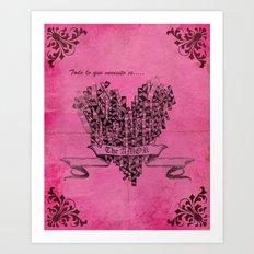 Lovely pink heart Art Print