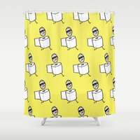 toilet Shower Curtains featuring toilet paper mummy by Nick Dauphin
